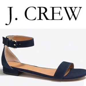 Jcrew Suede Navy Hadley Ankle-Strap Sandals